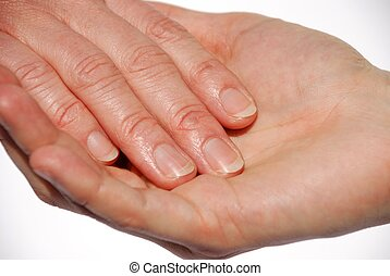 nail manicure - two hands symbolizing support or nail...