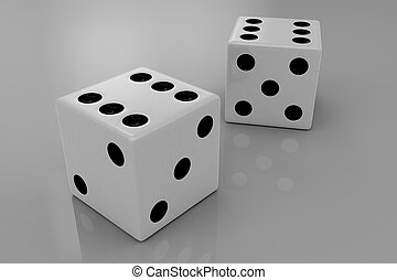 Two white plastic bouncing dices showing number six, closeup