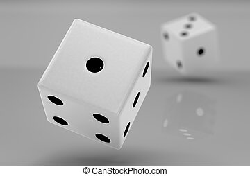 Two white plastic rolling dices showing number one and...