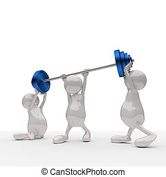 3D People Teamwork Holding Blue Weights