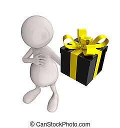 3D People With Black Glossy Gift Box