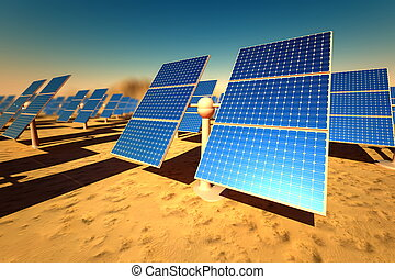 Sunny solar panels in a solar power station under a blue sky