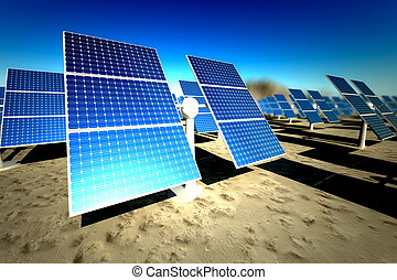 Sunny solar panels in a solar power station under a clear...