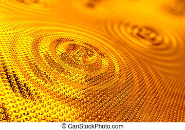 Abstract background of ripples in gold