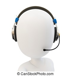 3d man call center support with headphones on white...