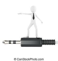 3d man with stereo audio jack on white background