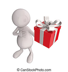 3D People with Red Gift Box