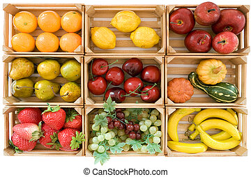 Fake Fruits - Wooden baskets with various toy fruits...