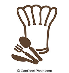 chef symbol - chef hat ,fork,spoon and knife