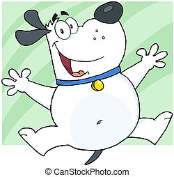 White Fat Dog Character Jumping - Happy White Fat Dog...