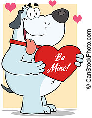 Gray Fat Dog Holding Up A Red Heart