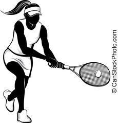 femininas, tênis, jogador
