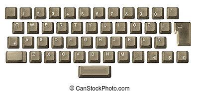 電腦, 鑰匙, 鍵盤, 信, 數字, 符號