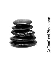 Stacked Black Pebbles