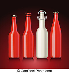 Beer bottle set with no label, vector Eps 10 illustration