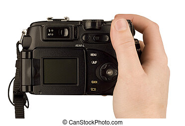 Digital Camera photo in a hand isolated on withe background...