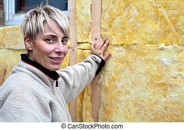 blond woman at home - energy saving