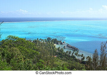Bora Bora - View from Bora Bora island on the sea lagoon and...