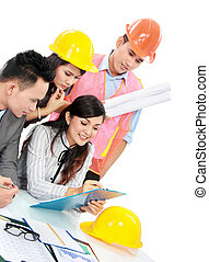 contractor with business people - Portrait of successful...