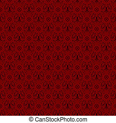 Seamless Red Damask - Damask pattern featuring butterfly...