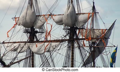 Rigging - The rigging of a tall ship sailing boat which is...