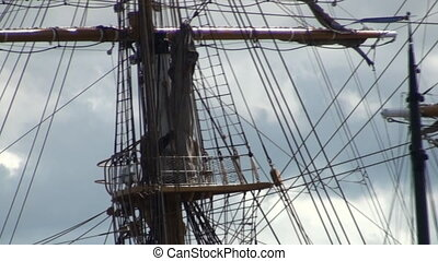 Rigging sailboat - The rigging of a tall ship sailing boat...