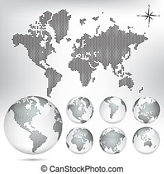 Vector dotted Map and Globe of the World. EPS10