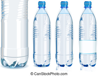 Four Water Plastic Bottles with Generic Label - Detailed...