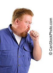 Man Coughing - Sick mature man with emphysema coughs into...