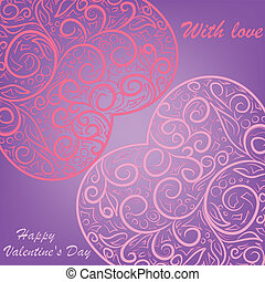 two pink hearts on lilac background
