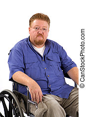 Man Wheelchair Sad - Overweight disabled man sits in a...