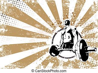 bodybuilder retro poster background