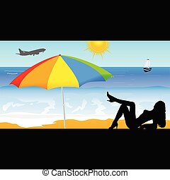 girl on the beach vector illustration part two