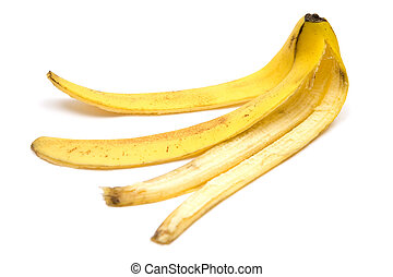 Slippery - Banana peel White background