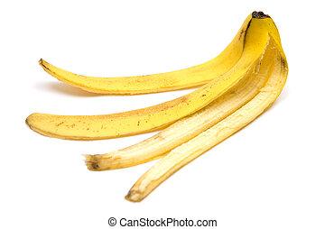 Slippery - Banana peel. White background.