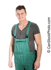 Strong fit man in dungarees - Strong fit handsome young man...