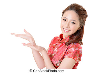 Asian woman introduce - Smiling Chinese woman dress...
