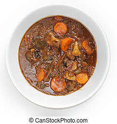 OXtail stew high angle - High angle view of a bowl of...
