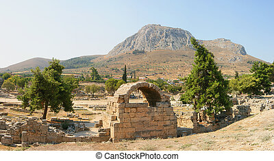 corinth ancient ruins - ancient ruins of the old greek city...