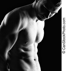 Bodybuilder - Silhouette of young athlete bodybuilder man on...