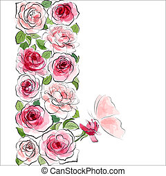 Stylish floral background. Pink roses with butterfly -...