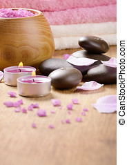 Spa lavender salt set on the wooden table with  copy-space