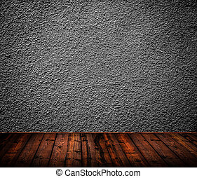 Empty room interior with black wall