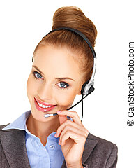 Beautiful woman receptionist with a headset - Closeup head...