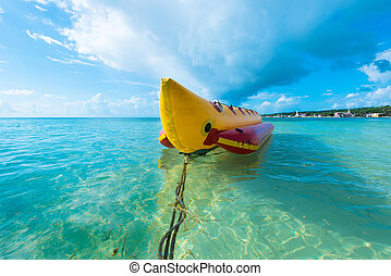 Inflatable banana boat at Caribbean Sea, San Andres Island,...