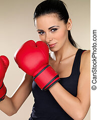 Attractive female boxer - Attractive young female boxer...