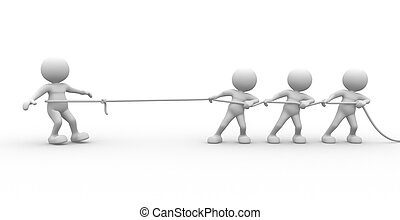 Rope - 3d people - man, person with rope pulling Three...
