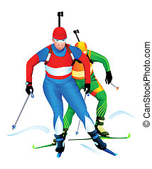Biathlon race - Two biathlon runners at the competition
