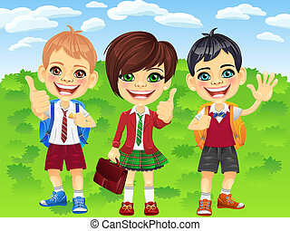 Vector smiling schoolchildren boys and girl - smiling happy...
