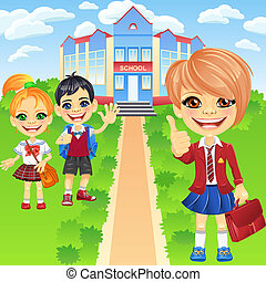 Vector happy smiling schoolchildren girls and boy - Smiling...